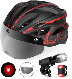 Odoland Bike Helmet with Detachable Goggle, Bike Headlight and Bike Taillight for Road or Mountain Cycling,Lightweight Adjustable and Breathable Bicycle Helmet for Adults and Youth, CPSC Certification