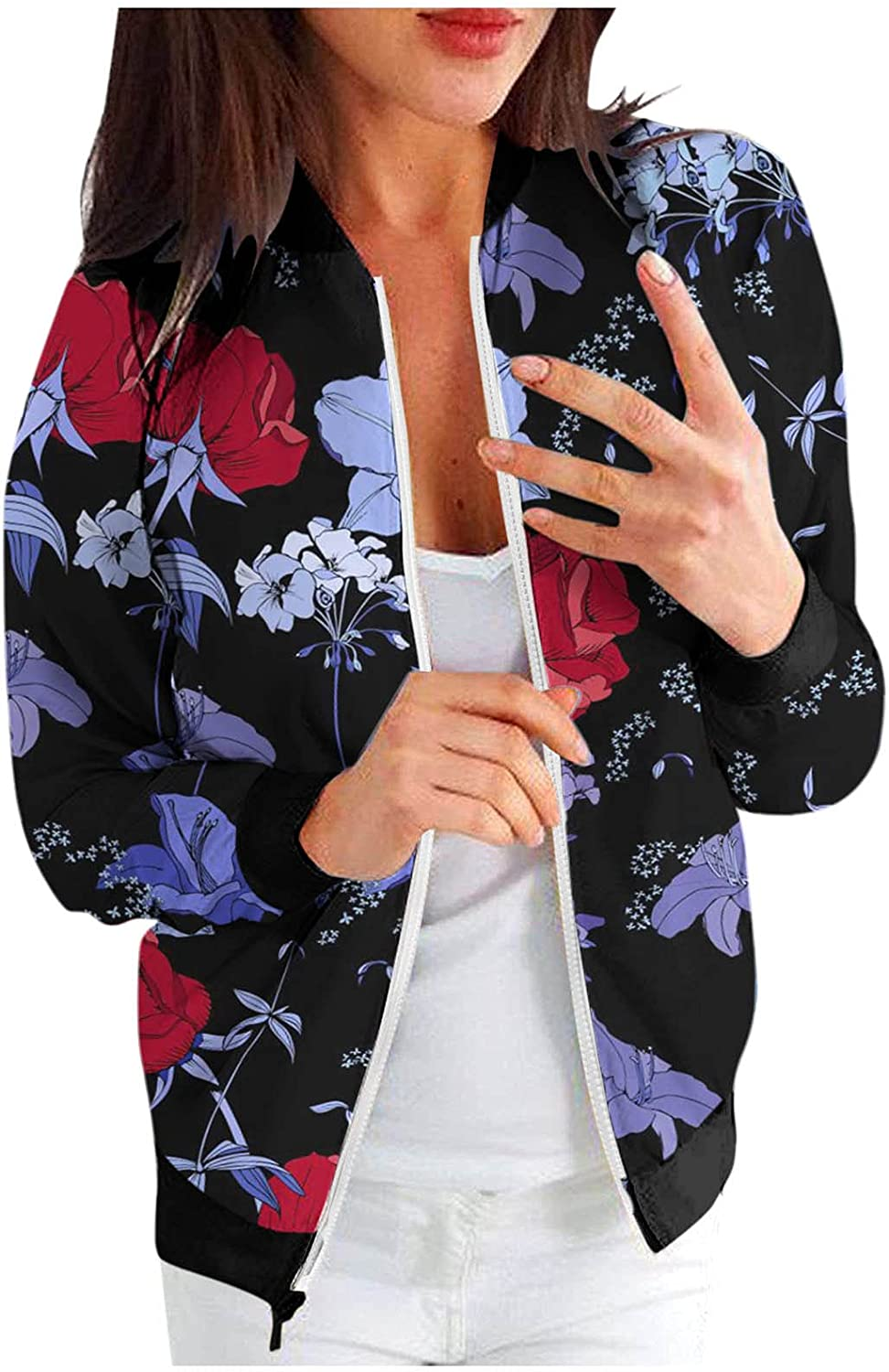 Misaky Women's Jackets Lightweight Zip Up Retro Floral Printing Jacket Casual Tops Coat Outwear