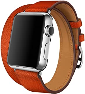 Gosuper Tour Genuine Leather Band For Apple Watch 44mm 42mm,Leather Bracelet for iWatch Series 4/3/2/1