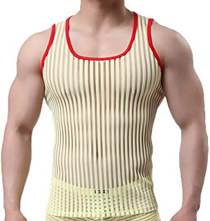 COMVIP Men's Mesh Breathable Gym Muscle See-Through Tank Top Vest