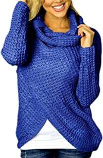 Women's Chunky Turtleneck Cowl Neck Knit Asymmetric Hem Sweater Coat with Button Details