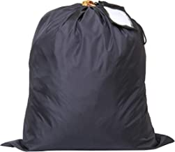 Insular Laundry Bag (Black) Strong Material with String and Shoulder Straps – Wash Bag for Used Clothes