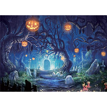 Halloween Backdrop 7x5ft Polyester Photography Background Comic Trick or Treat Party Dressed Up Children Ghost Pumpkin Lamp Haunted House Ghastly Cemetery Flying Bats Greeting Card Kids Baby Shoot