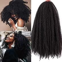 3 Packs Afro Kinky Marley Braids Hair Extensions Twist Crochet Braids Kanekalon Synthetic Hair 18 Inch (1B#)
