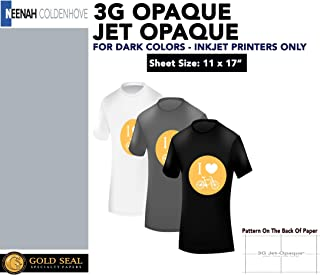 """Neenah 3G Jet Opaque Hat Transfer Paper for Inkjet Printers - 11"""" x 17"""" - 10 Sheets"""