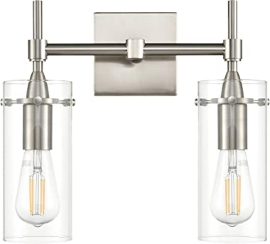 Effimero Brushed Nickel Bathroom Vanity 2 Light Fixture - Modern Over Mirror Lighting with Clear Glass Shades