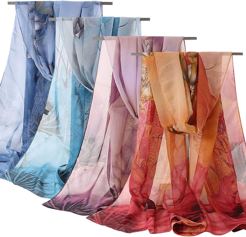 heekpek Floral Scarves for Women Lightweight Wrap and Shawls Girls Fashion Chiffon Print