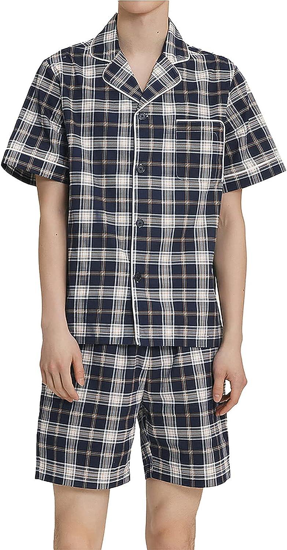 FMOGG Mens Plaid Pajama Shorts Sets,Cotton Pyjamas Set Short Sleeve Loungewear Sleepwear for Summer Pj Set