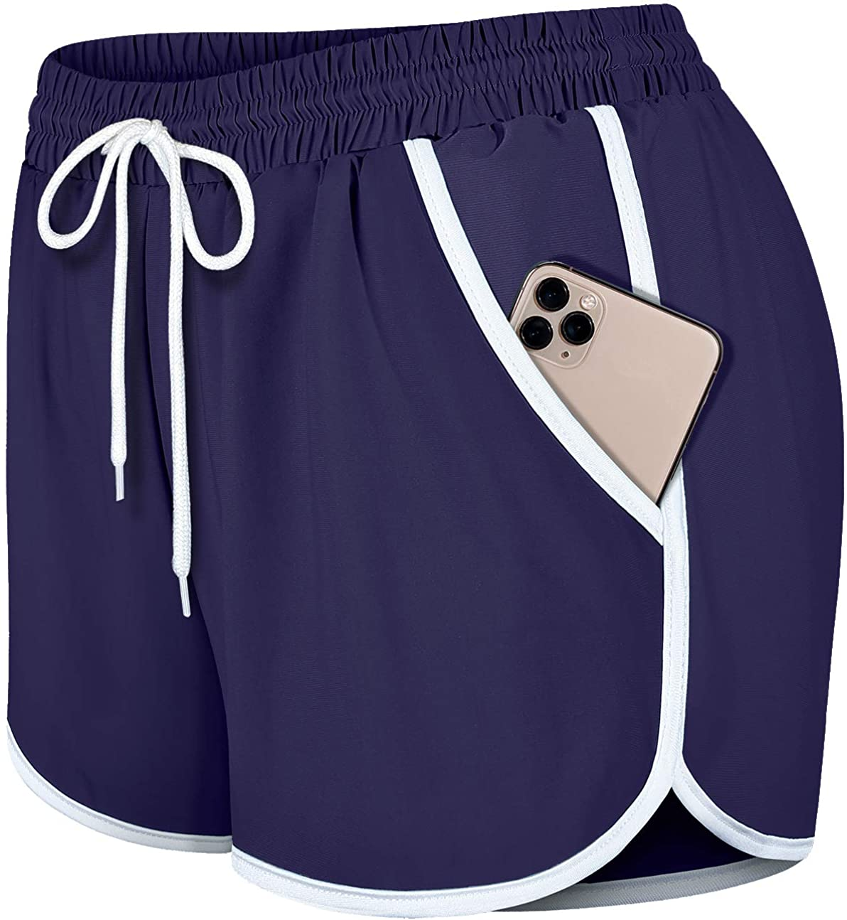 Fulbelle Womens Cheap Double Layer Drawstring S Waist All items in the store Athletic Elastic