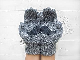 Mustache Gloves, Grey Gloves, Fun Gloves, Valentine's Day Gift
