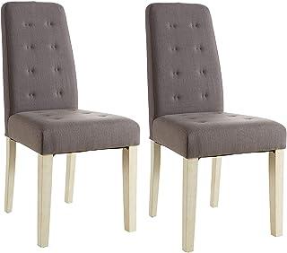 Abitti Pack 2 sillas para Comedor o salón tapizadas en Tela Marron y Estructura en Madera Maciza de Pino 45x95cm