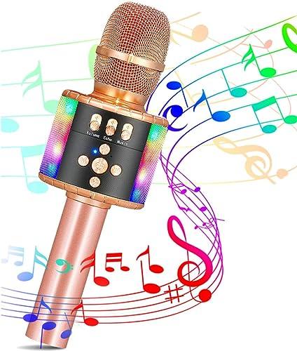 SGODDE Micro Karaoké sans Fil Bluetooth, 4 en 1 Micro Karaoké Enfant avec Lumières Haut-Parleurs Intégrés Compatible ...