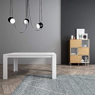 Mc Haus TROTTER - Mesa Comedor Madera Natural Blanca salon Mesa cocina oficina de Diseño Rectangular con patas de madera ...