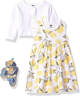 Girls' Cotton Dress, Cardigan and Shoe Set