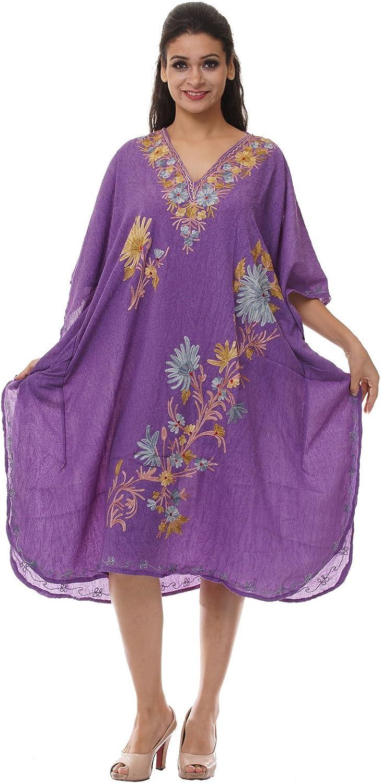 Odishabazaar Kashmiri Embroidered Womens Beachwear Cover up Swimsuit Swimwear Dress Caftan(uik-298)