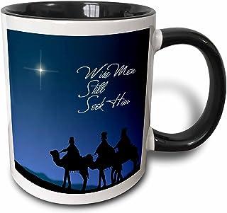 3dRose Wise Men Still Seek Him Magi Following The Christmas Star - Two Tone Black Mug, 11 Oz, Multicolor
