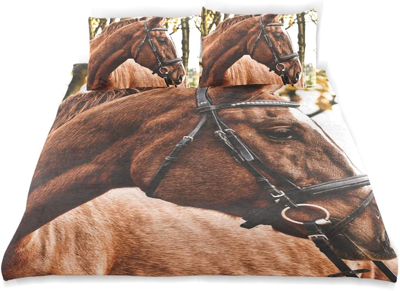 genuina alta calidad FAJRO - Juego de Cama de 3 Piezas de de de satén de algodón con 2 Fundas de Almohada, Diseño de Caballo Cachemira, Resistente a Las Arrugas y la deColoración  forma única