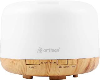 500Ml Essential Oil Diffuser,Artman Quiet 5-in-1 Humidifier, Natural Home Fragrance Diffuser with 7 LED Color Changing Lig...