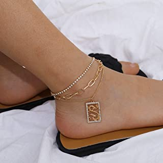 YERTTER Boho Chunky Rhinstyone Dragon Chain Anklet Anklet Barefoot Sandals Ankle Bracelet Beach Wedding Foot Chain jewelry...