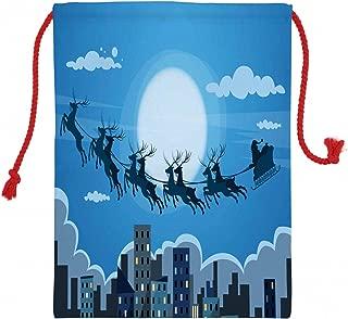 Lunarable Cityscape Christmas Gift Sack, Santa Claus Sleigh Reindeer Flying Over The Skyline Night Time Christmas Theme, Santa Sack Bag Canvas Fabric for Gifts and Storage, 19.8
