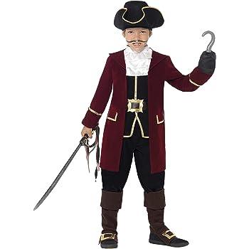 Smiffys Deluxe Piratenkapitän Kostüm, Schwarz, mit Jacket, Westenattrappe, Hosen, Halstuch und Hut, M
