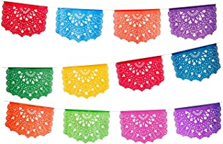 2 pack Medium Plastic Papel Picado Banner - Las Palomas Design - Each Banner includes 12 Panels and is 16 Feet Long Hanging