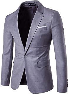 FSSE Mens Plain Slim Fit Business Dinner Wedding Party Dress Blazer Jacket Suit Coat
