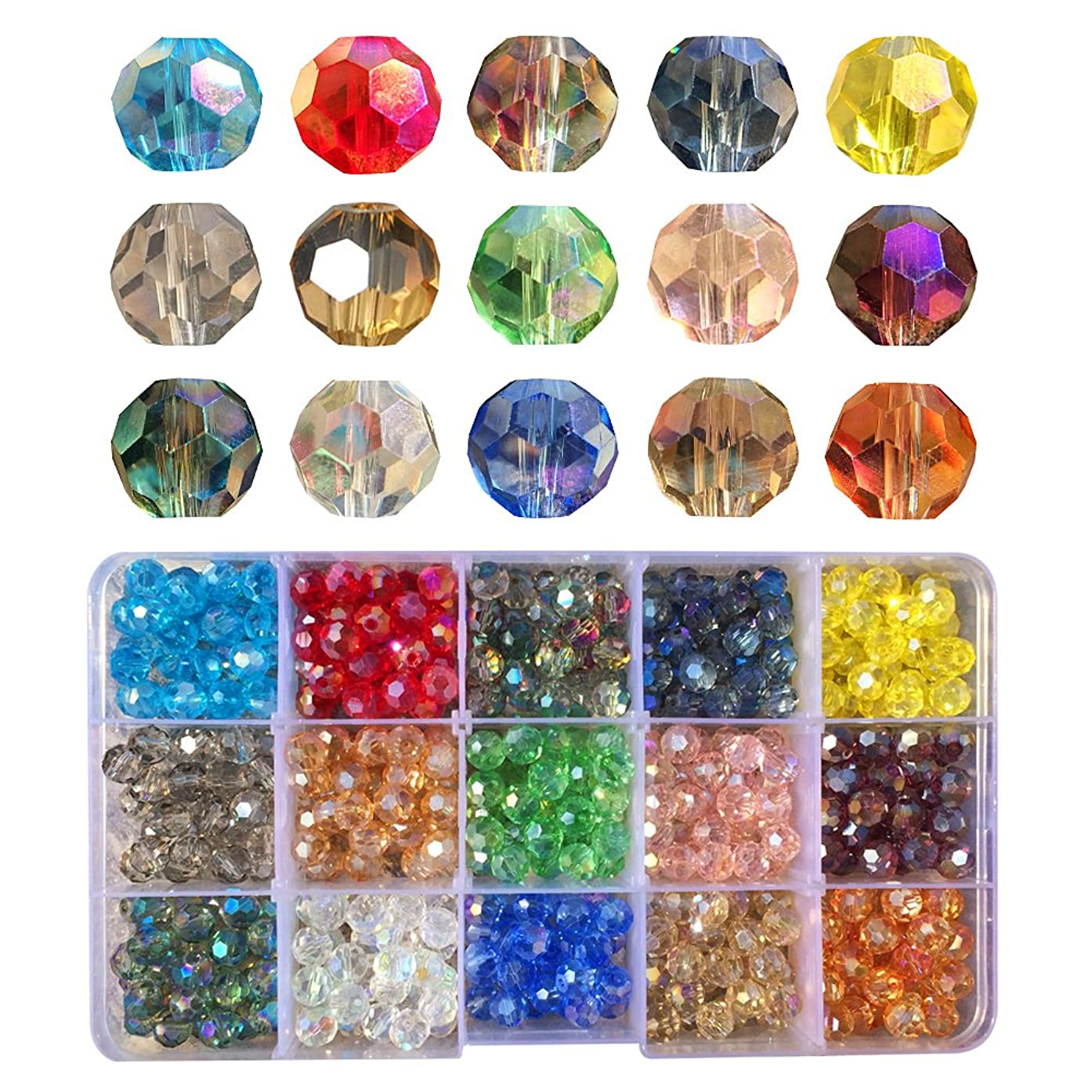 Chengmu 8mm Round Glass Beads for Jewelry Making Faceted Shape 450pcs AB Colorful Like Rainbow Crystal Spacer Beads Assortments Supplies for Bracelet Necklace with Elastic Cord Storage Box
