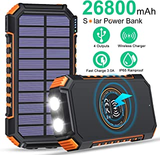 $37 » Solar Charger 26800mAh High Capacity, ADDTOP Wireless Portable Charger USB C Solar Power Bank with 4 Outputs, Fast Chargin...