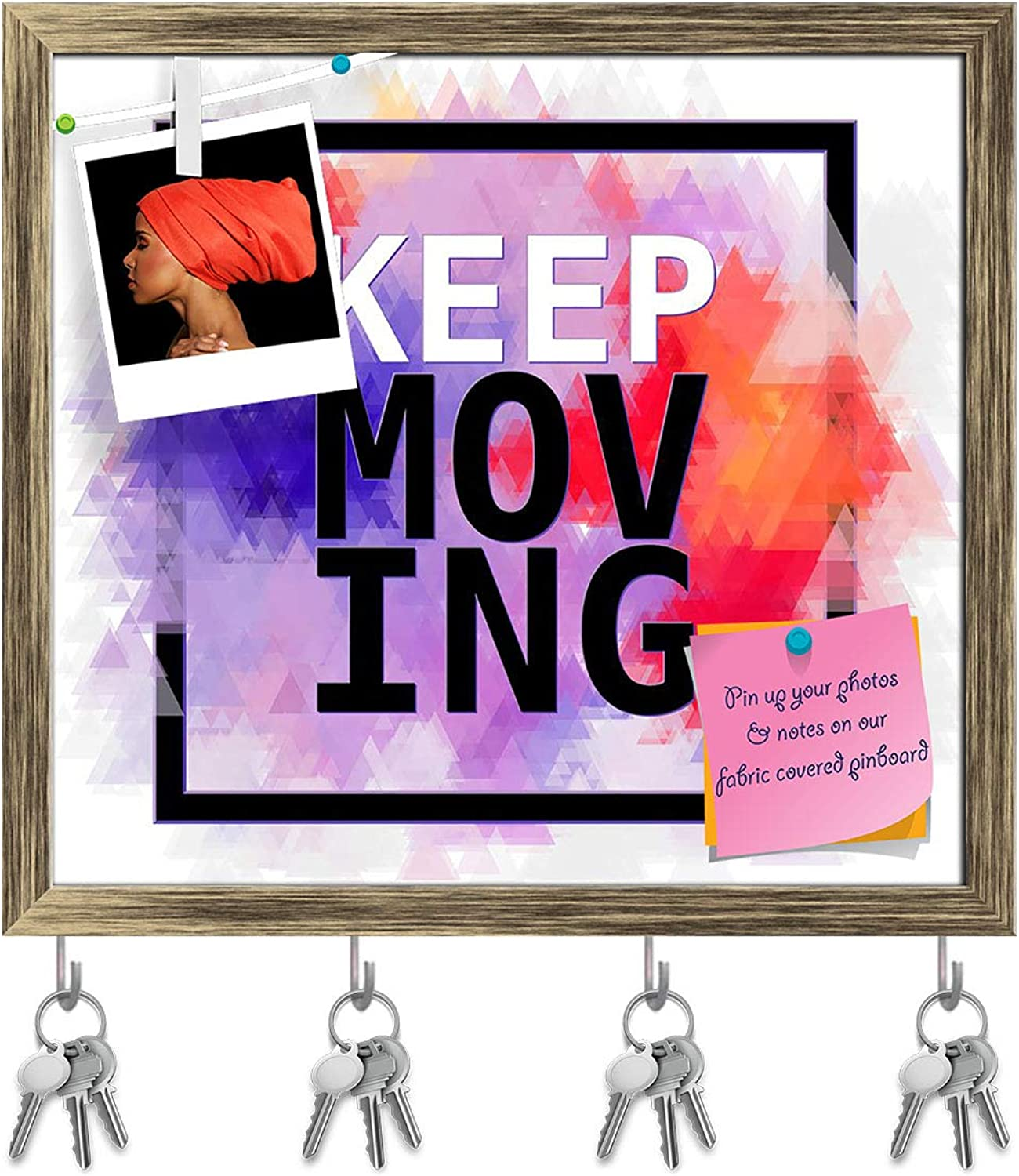 Artzfolio Inspirational Artwork D8 Key Holder Hooks   Notice Pin Board   Antique golden Frame 17.5 X 16Inch