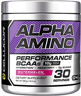 Cellucor Alpha Amino EAA & BCAA Powder | Branched Chain Essential Amino Acids + Electrolytes | Watermelon | 30 Servings