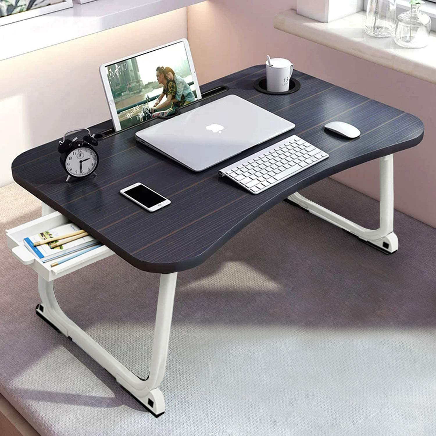 """Laptop Table, Foldable Laptop Tray with Beverage Holder, Portable Lap Tray with Storage Drawer for Kid Study, Adult Video Conference Work Station at Floor Couch Hospital,Black Golden(23.6""""x15.7""""x11"""")"""
