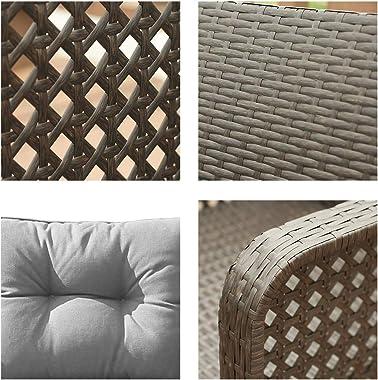 Outdoor Rattan Single Chair 2pcs,Patio PE Wicker Furniture Cushion Seat,2Pcs Armchairs PE Rattan Sofa Backyard Yard ,Premium
