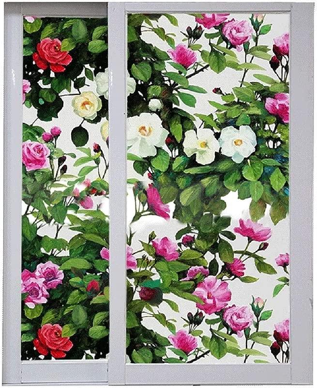 OUPAI Window Film Privacy Window Film Rose Flower Bloom Pattern Decorative Glass Film No Glue Anti UV Window Sticker For Bathroom Bedroom Living Room Glass Film Size 100x45cm