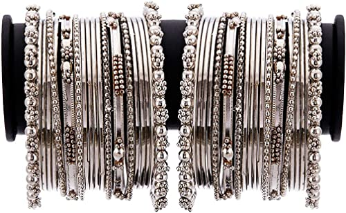 Zeneme Jewellery Traditional Silver Plated Oxidized Bracelet Bangles Set for Girls & Women