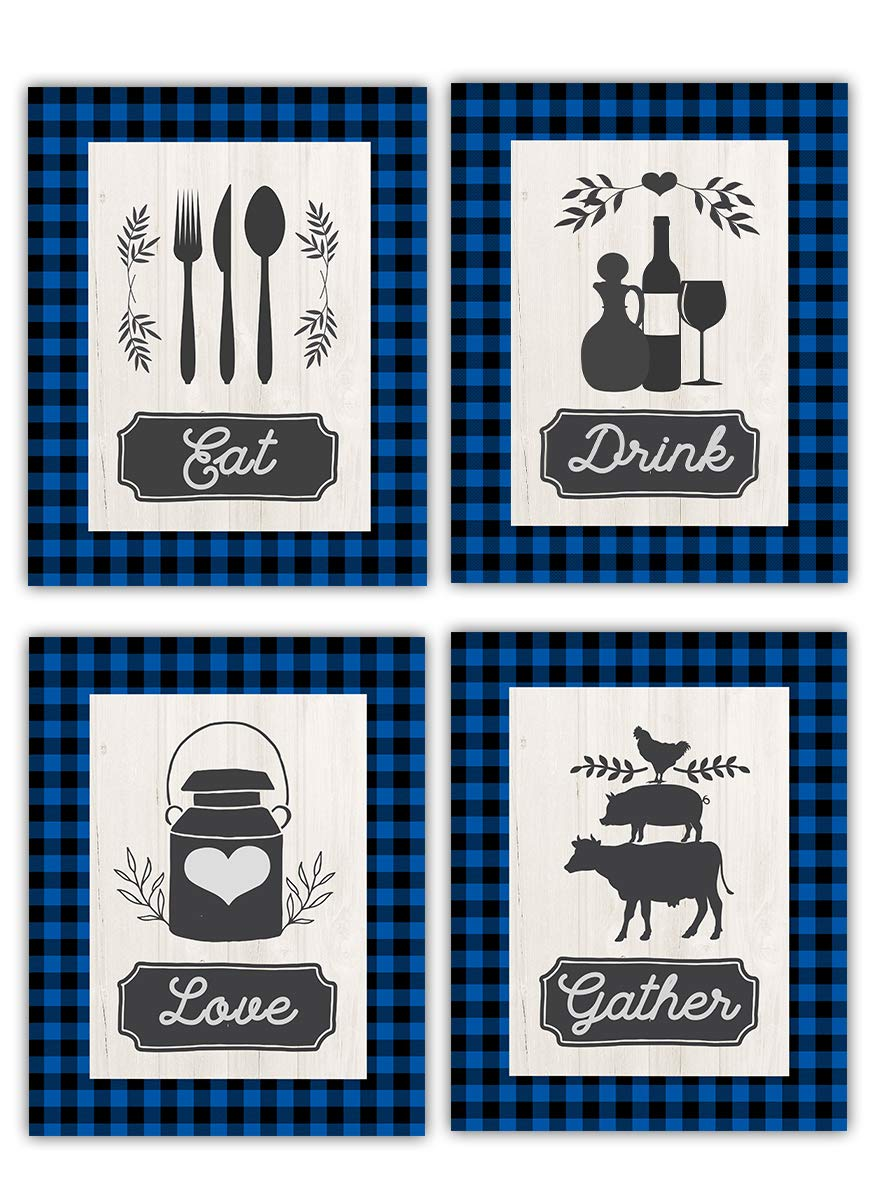 Eat Drink Love Gather Indefinitely Blue Kitchen Prints Farmhouse Omaha Mall Art Wall