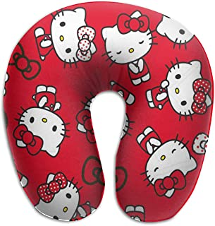 Lingfuying Multiple Cute Hello Kitty Travel Pillow Memory Foam, Head Neck Support Pillow for Airplane, Car, Office, with Attachable Snap Strap Soft Washable Cover
