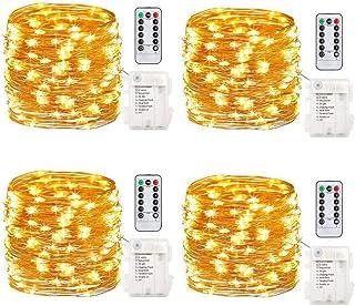 حزمة من قطعتين بطول 100 لمبة LED خارجية 100 لمبة LED تعمل بالبطاريات مصابيح الخيالية 8 أوضاع للأسلاك النحاسية المقاومة للم...
