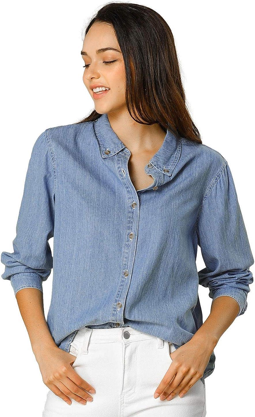 Allegra K Women's Classic Long Sleeve Loose Button Down Denim Shirt