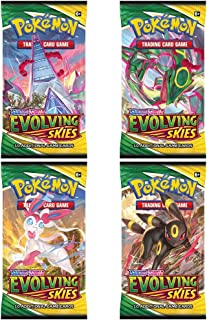 Pokemon Cards Sword and Shield - 4 x Evolving Skies Pokemon Booster Pack - Pokemon Trading Cards - English Cards