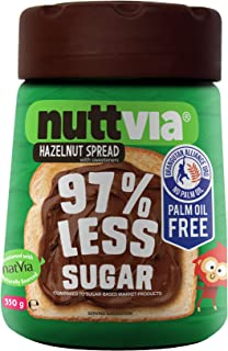 Nuttvia Chocolate and Hazelnut Spread – Delicious & Palm Oil Free with Natural Sweeteners – 97% Less Sugar (350g Jar)