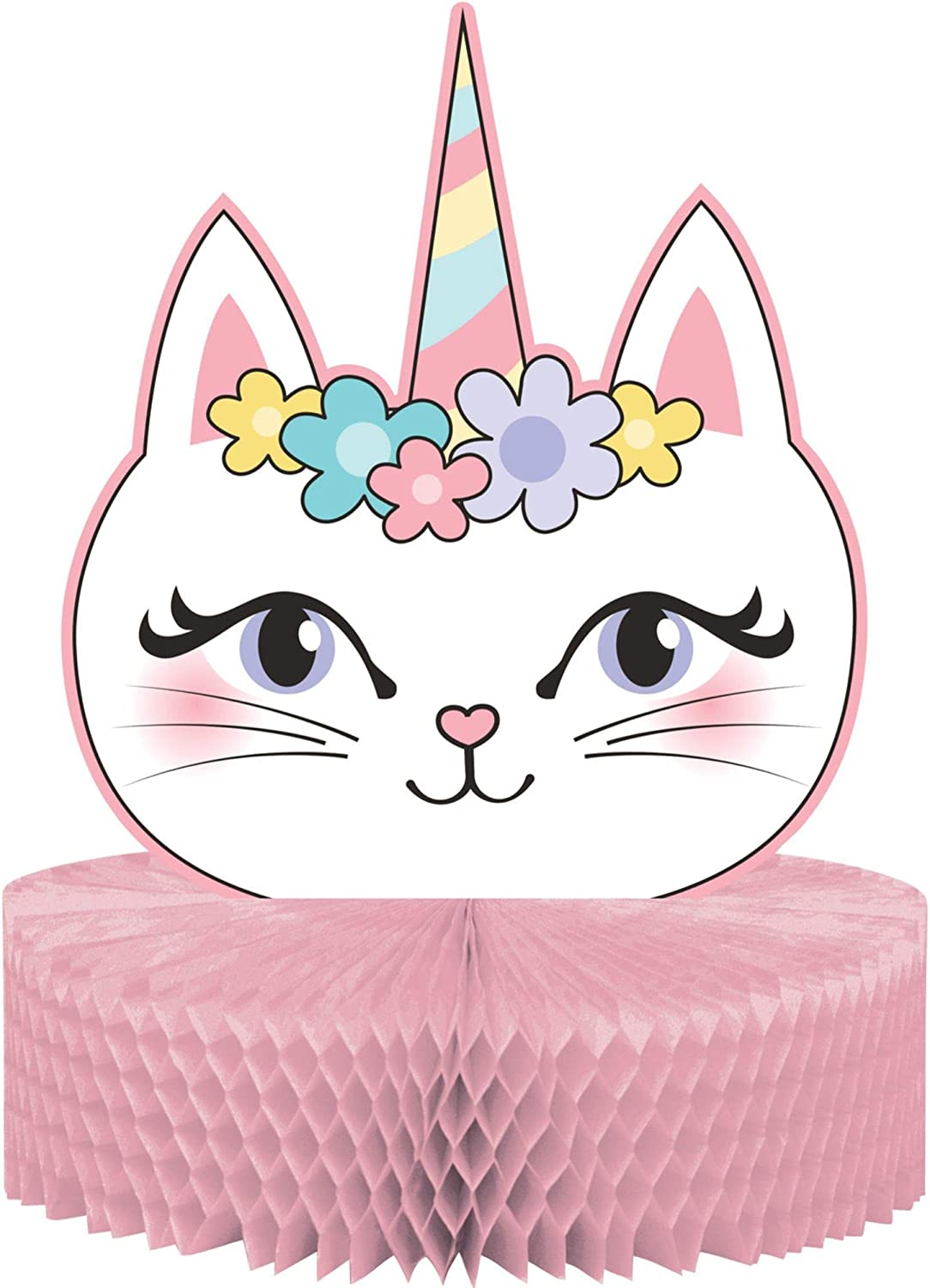 Party Central Pack of Popular standard 6 Pink and Centerpiec Caticorn Factory outlet White Sassy