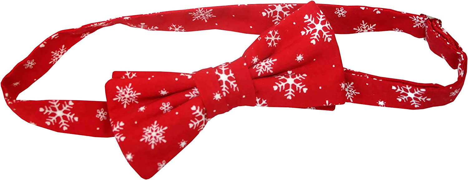 Holiday Bow Ties Mens Bow Tie Pre-tied Holiday Christmas Red and White Snowflake