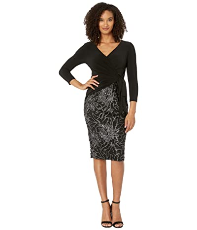 Adrianna Papell Jersey Wrap Embroidered Sheath Dress (Black) Women