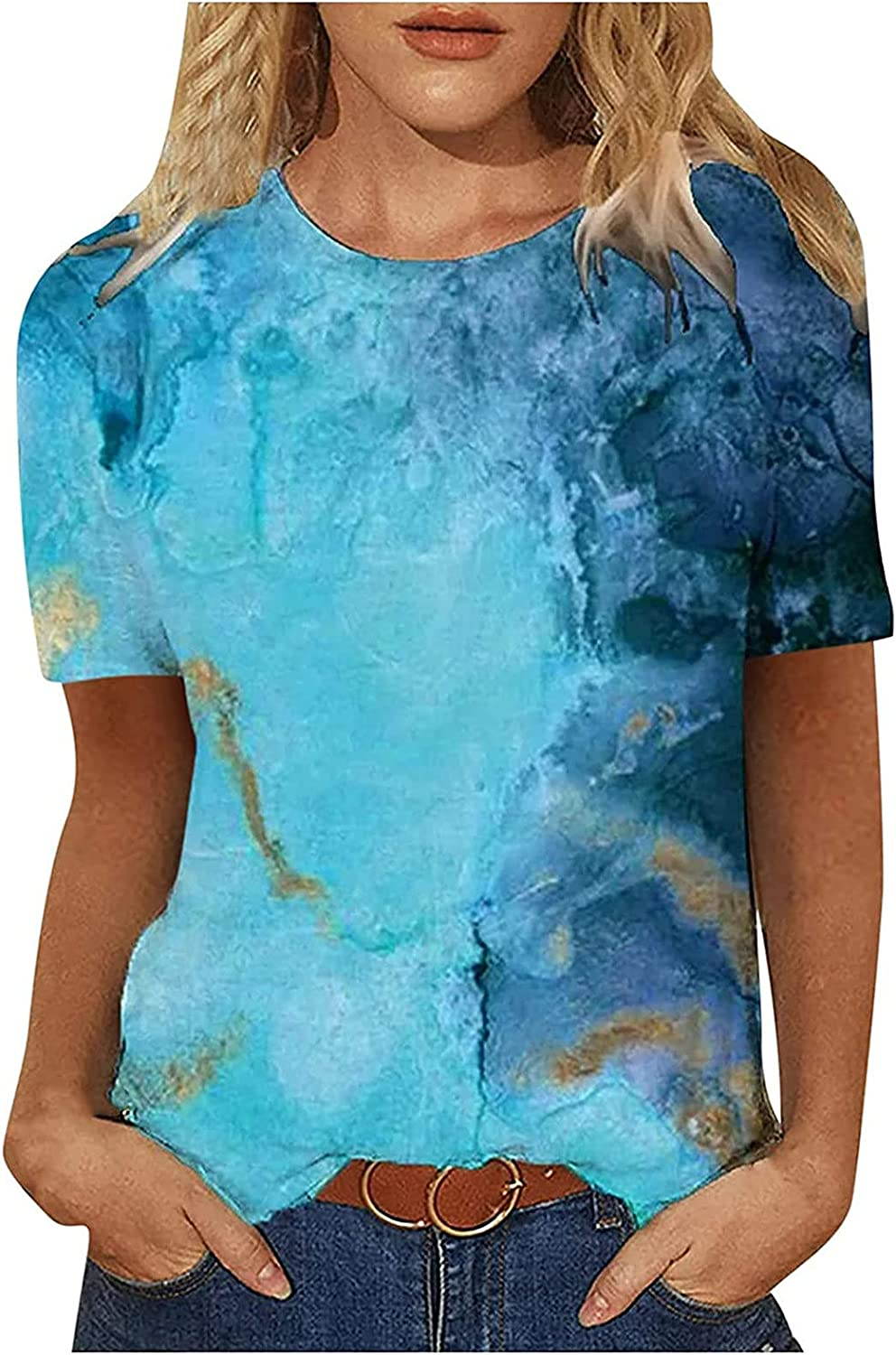 Graphic Tee Tops for Womens Retro Printing O-Neck T-Shirt Short Sleeve Casual Tee Tops Blouse