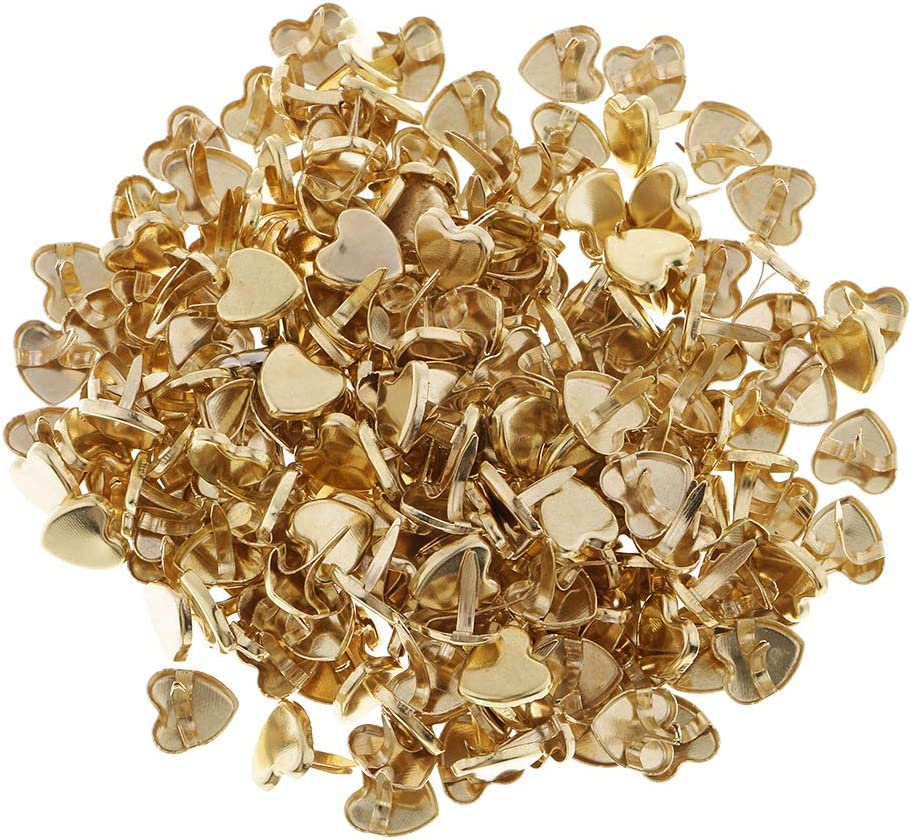 LoveinDIY 200Pcs Gold Heart Paper Max 57% OFF Brads for Fasteners Sc Crafts Animer and price revision