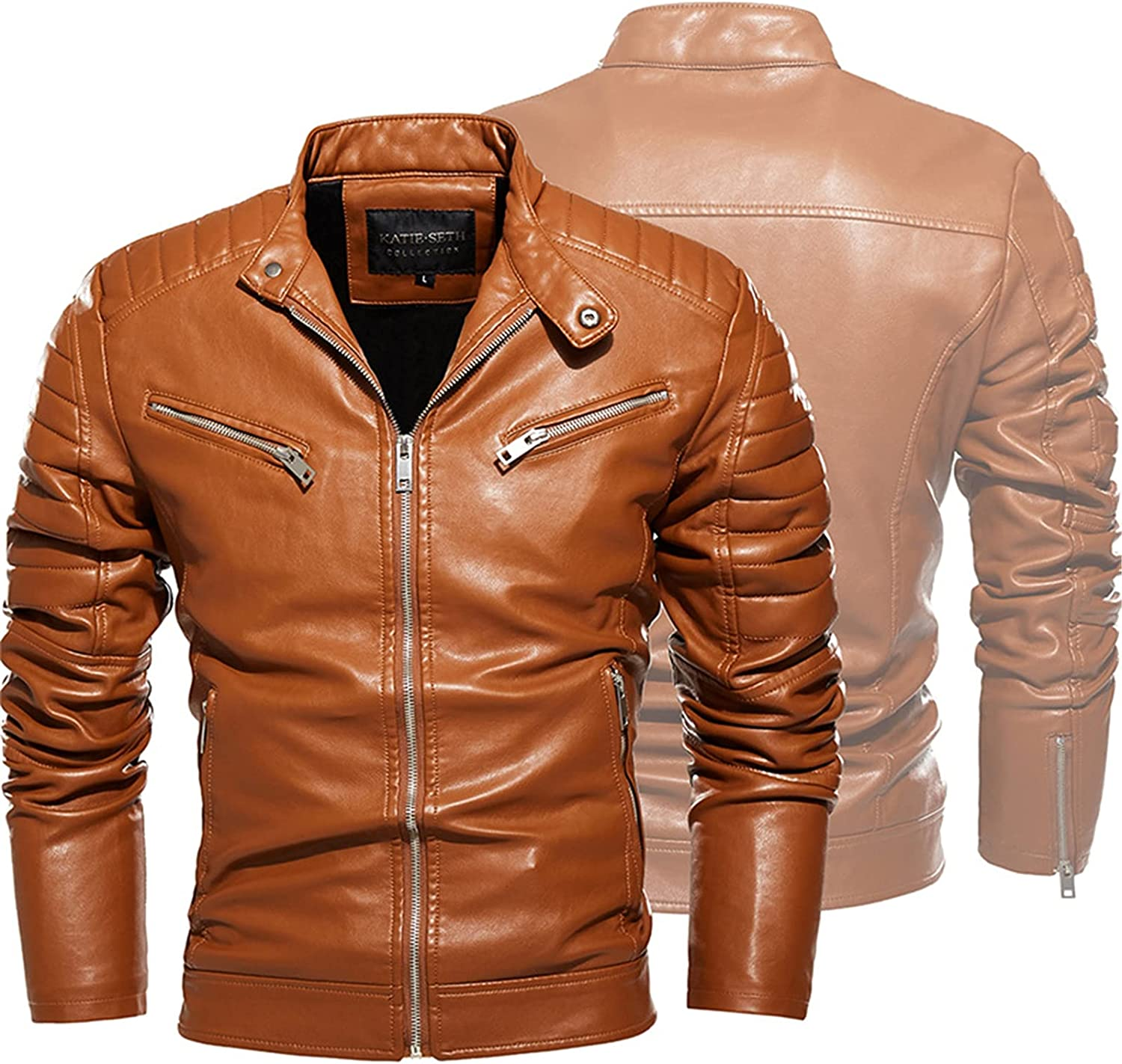 Men's Vintage Stand Collar Leather Jackets,PU Leather Motorcycle Jacket Plus Fleece Jacket,Casual Fit Long Sleeves