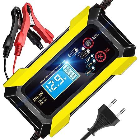 YDBAO Caricabatteria per Auto 6A//12V Multipla Protezione Caricabatteria Auto di Carica con modalit/à di Manutenzione con Schermo LCD per Auto Moto