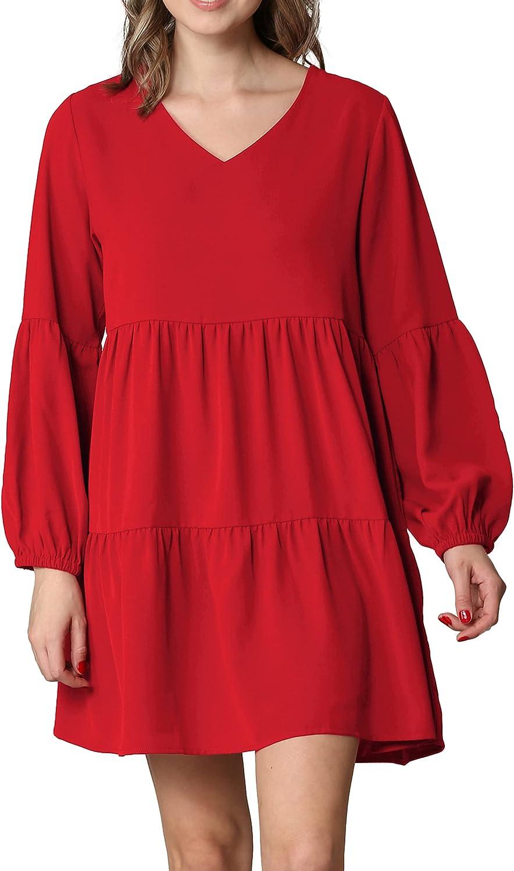 Lock and Love Women's Summer Tunic Dress V Neck Casual Loose Flowy Swing Shift Dress