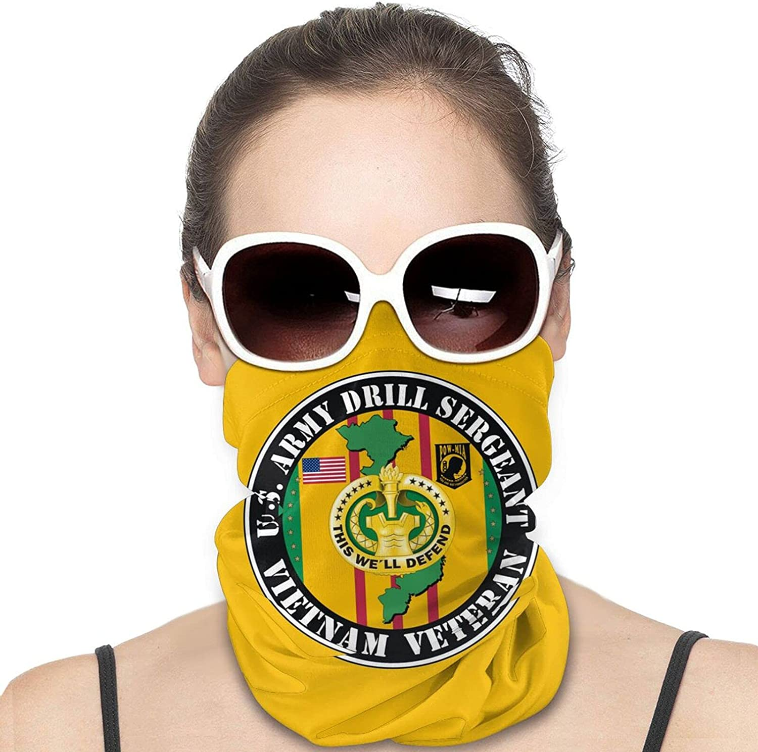 U.S. Army Drill Sergeant Vietnam Veteran Round Neck Gaiter Bandnas Face Cover Uv Protection Prevent bask in Ice Scarf Headbands Perfect for Motorcycle Cycling Running Festival Raves Outdoors